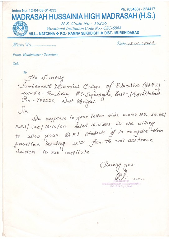 Sambhunath Memorial College Of Education (B Ed)